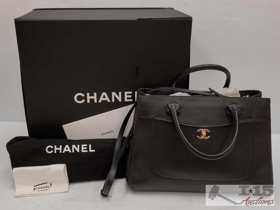 CHANEL Black Grained Calfskin Leather Neo Executive Shopper Bag w orginal tags and box retails 3,900