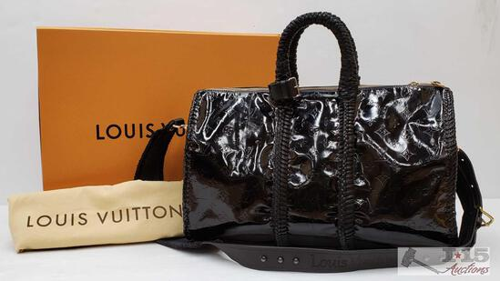 Auth Louis Vuitton Black Monogram Keepall Bandouliere 45 Vernis Custom Eclipse