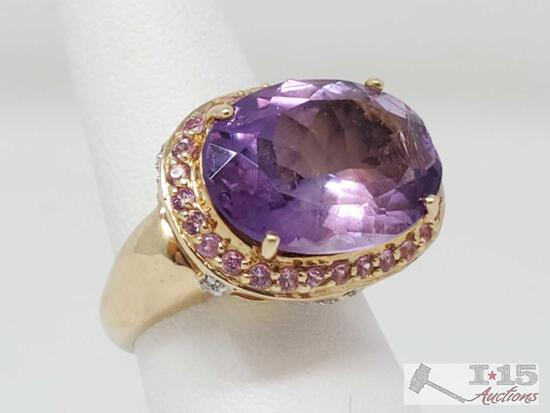 14k Amethyst Oval Mixed Cut Ring w Diamonds and Pink Sapphires, 6.5 Appraised Over $3000