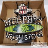 Brand New Murphy's Irish Stout Universal Electric Sign