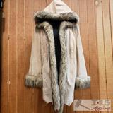 Womens Pamela McCoy Fur Coat with Hood, 1X
