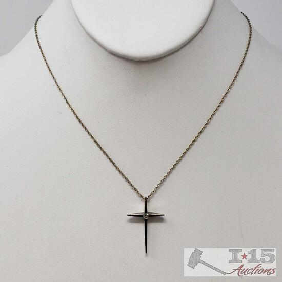 14k Gold Diamond Necklace, Weighs Approx 3.3g