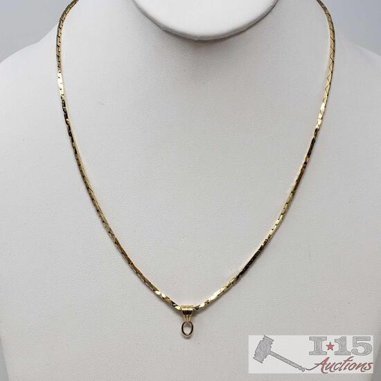 14k Gold Necklace, Weighs Approx 12g