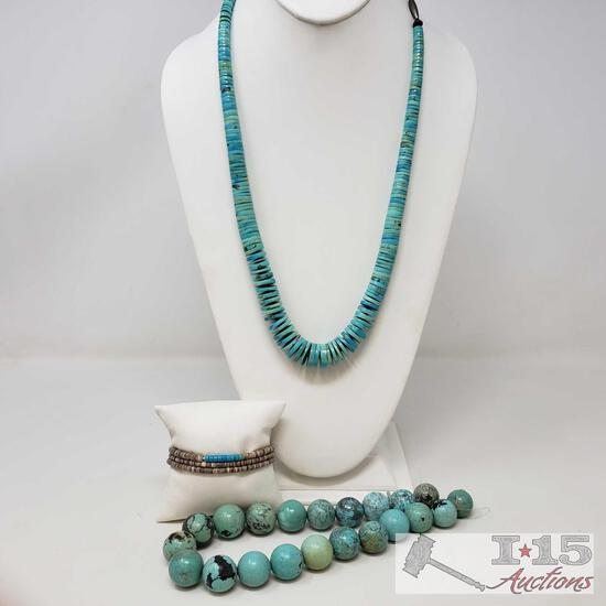 Turquoise Necklace, Bracelet, and Beads