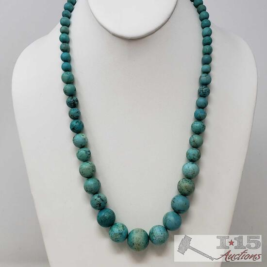 .925 Sterling Silver Necklace With Turquoise, Weighs Approx 94.2g