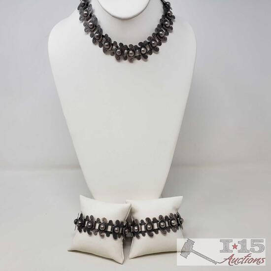.925 Sterling Silver Necklace and 2 Bracelets, Weighs Approx 146.5g