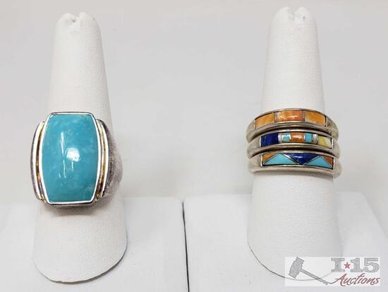 .925 Sterling Silver Rings With Turquoise, Weighs Approx 22.5g