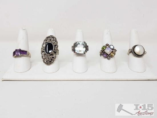 .925 Sterling Silver Rings, Weighs Approx 50g