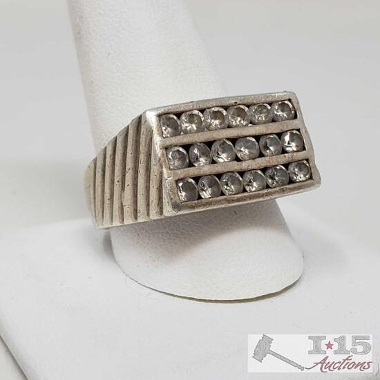 .925 Sterling Silver Ring, Weighs Approx 12.2g