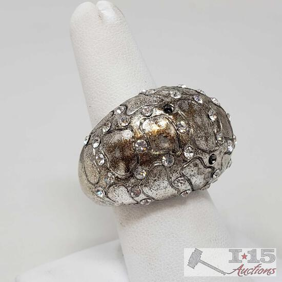 .925 Sterling Silver Ring, Weighs Approx 15.3g