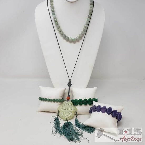 2 Jade Necklaces, 3 Bracelets