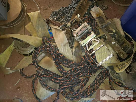 """Ratchets Straps, Chain, and Rope, 4"""" wide Straps"""