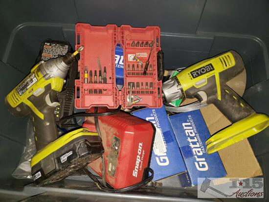 2 Ryobi Drills, Battery Charger with Batteries, Snap-on Battery Charger and More