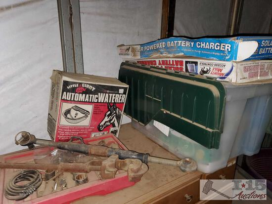 2 Mighty Mule Solar Powered Battery Chargers, New Light Bulbs, New Auto Waterer, and Misc Tools