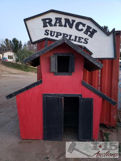 Ranch Supplies Sign With Mini Barn