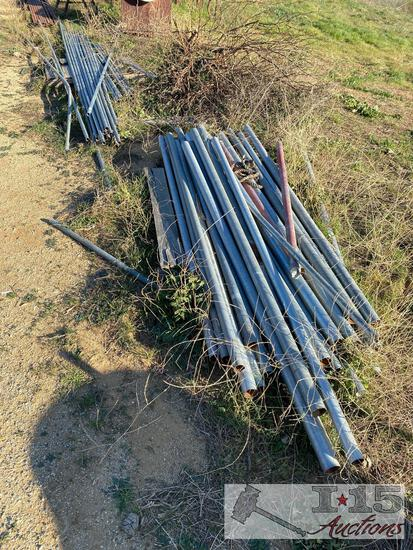 Galvanized fence post and top rails