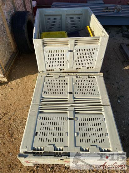 3) 48x40 collapsible produce crates and too heavy duty totes