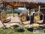 3 Wicker Hammock Chairs with 2 End Tables