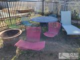 Patio Table, Chairs, Lounge Chair and Fire Pit