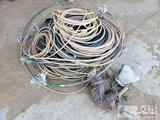 Assorted Rope, 3 Hay Hooks, and Metal Horse Fence Post Topper