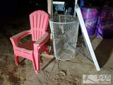 2 Chairs, 2' Ladder, Lifetime Plastic Table, and Metal Basket