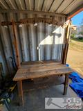 Wooden Table with Display Upright with Lights