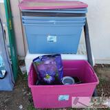 5 Plastic Storage Containers, 4 Lids and a Igloo Ice Chest