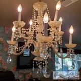Hanging Chandelier with Glass Pieces