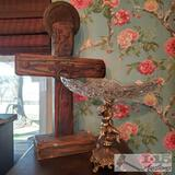Wooden Cross and Metal and Glass Table decor