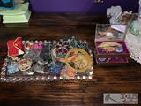 Glass Jewelry Tray with Assorted Costume Jewelry