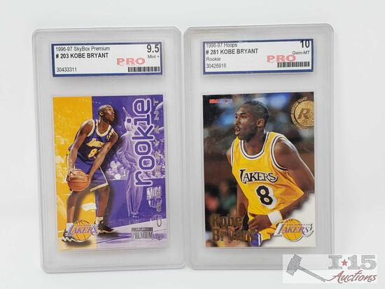 1996-97 Skybox Premium and Hoops Pro Graded Kobe Bryant Rookie Cards