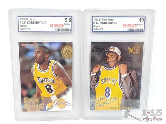 1996-97 Hoops #281 and Fleer Metal #137 Kobe Bryant Rookie Cards, Pro Graded