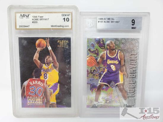 1996 Fleer #203 and 1996-97 Metal #181 Kobe Bryant Cards