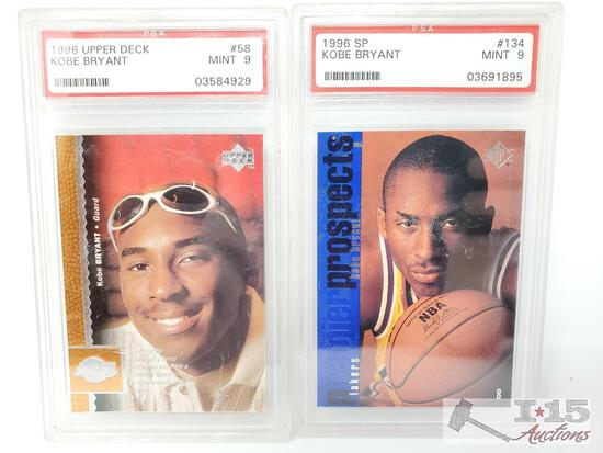 1996 Upper Deck #58 and 1996 SP #134 Kobe Bryant Cards