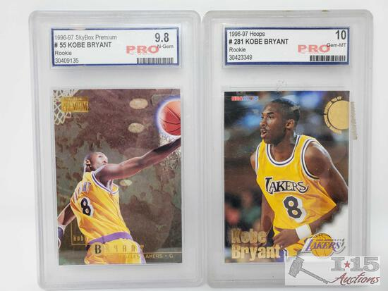 1996-97 Skybox Premium #55 and Hoops #281 Kobe Bryant Pro Graded Rookie Cards