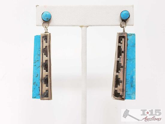 Sterling Silver Turquoise Dangle Earrings, 121g