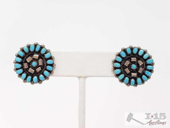 Sterling Silver Turquoise Earrings, 6.1g