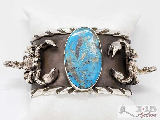 San Felipe Jacob Troncosa Sterling Silver Cuff Bracelet With Turquoise