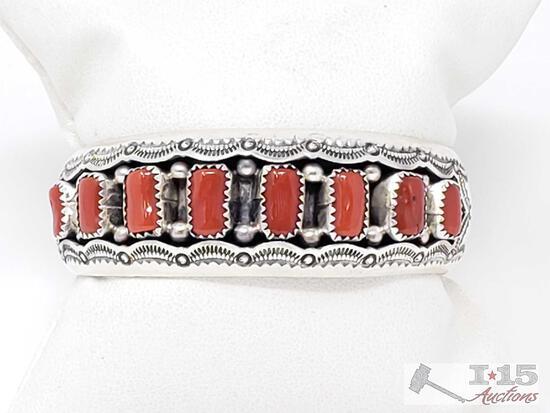 Impressive Vintage Navajo Coral Sterling Silver Bracelet Old Native American