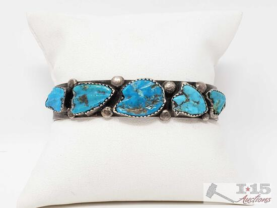 Very Rare Vintage Native American Navajo Carved Turquoise Sterling Silver Bracelet
