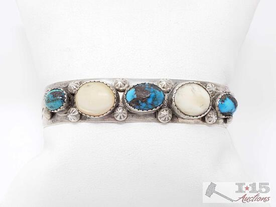 Stunning Vintage Navajo Native American Jewelry Bisbee Turquoise Sterling Silver Bracelet