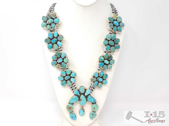 LARGE Navajo Sterling Silver Turquoise Cluster Squash Blossom Necklace. C Yazzie