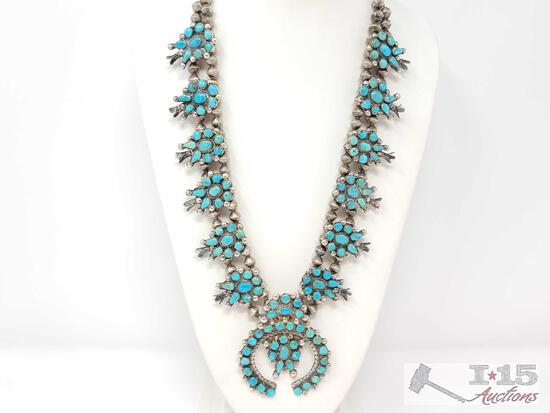 VINTAGE,1970?s STERLING/TURQUOISE PETIT POINT SQUASH BLOSSOM NECKLACE