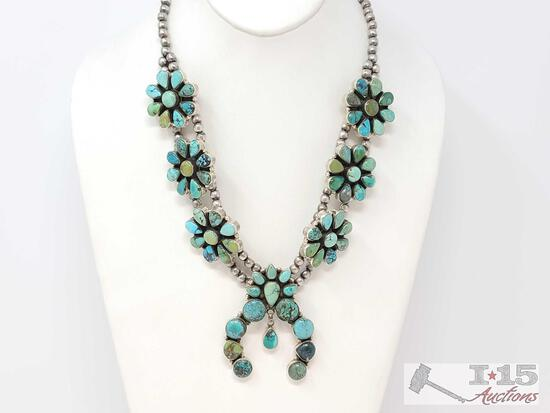 Gorgeous Turquoise Cluster Squash Blossom Sterling Silver Necklace