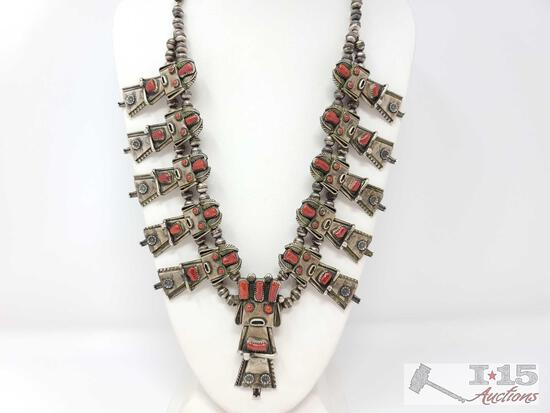 "NAVAJO CORN MAIDEN KACHINA SQUASH BLOSSOM NECKLACE ""F.Y."" STERLING CORAL-NR"