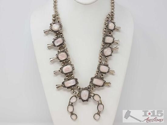 Old Pawn Vintage Sterling Silver and Mother of Pearl Squash Blossom Necklace