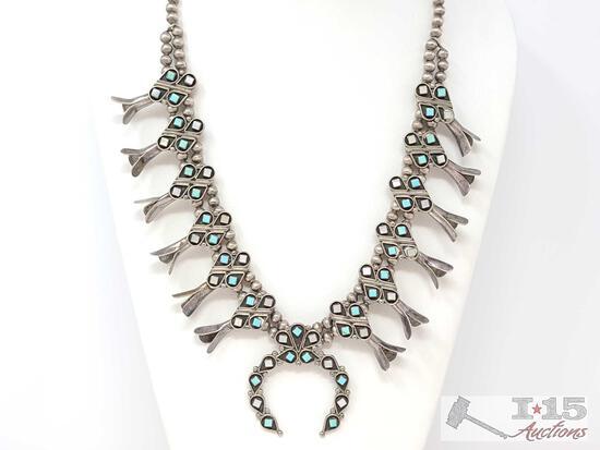 VTG Native American Zuni Elliot Gasper Silver Squash Blossom Naja Necklace Beads
