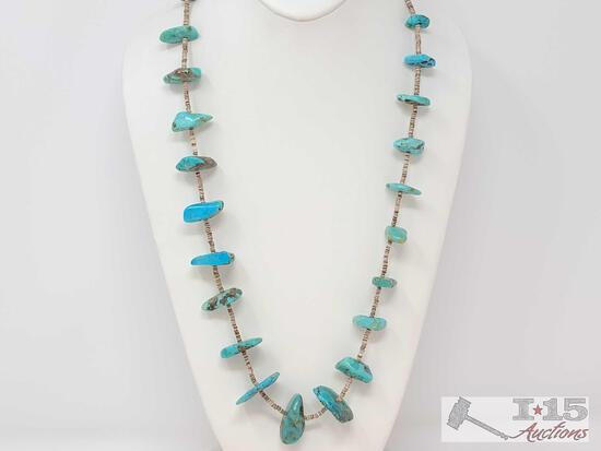 NATIVE AMERICAN SUPERIOR Slabs OF TURQUOISE VINTAGE NAVAJO STERLING SILVER NECKLACE OLD