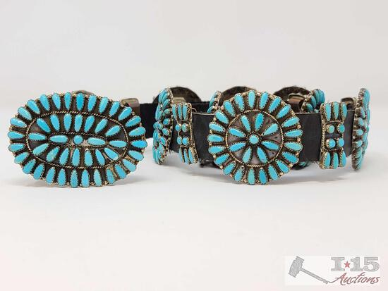 ...Zuni Pettit point...Vintage Native American Concho Belt Sterling Silver and Turquoise signed P Jo