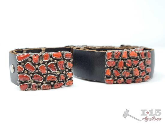 Old Pawn RARE Sterling Silver And Blood Red Coral Cluster Block Concho Belt, 318.1g